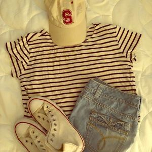B&W striped crop to T-shirt
